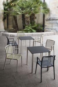 Claro, Tisch mit Metallsockel, Laminat, für Bars