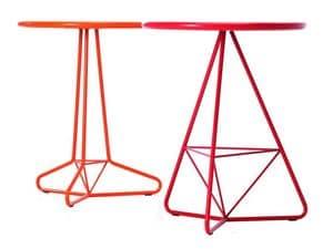 Tria Due d60 d70, Außen-Tisch in farbigem Metall, runder Platte