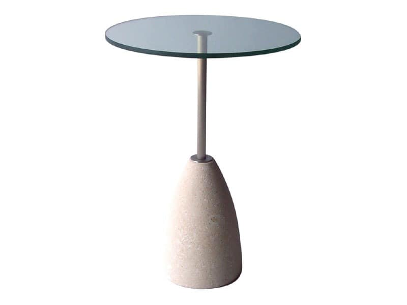 Element 2, Runder Tisch aus Stein und Glas, für Bars und Pubs