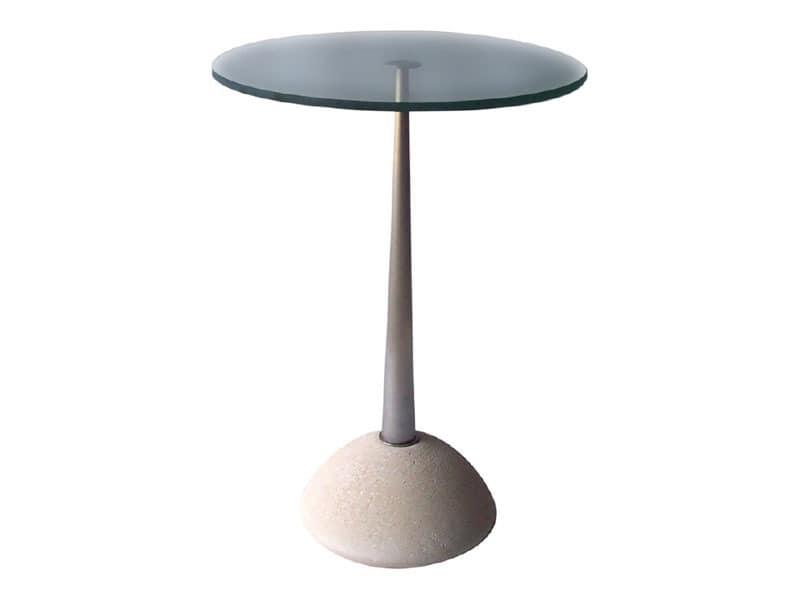 Memo, Runder Tisch aus Stein und Glas, für Bars und Pubs