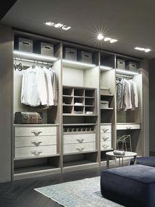 ATLANTE Begehbarer Kleiderschrank comp.11, Begehbarer Schrank aus Eschenholz mit Details in Nabuk