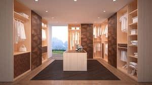 AR22 Desyo, Gehen Kleiderschrank komplett anpassbar und modular, mit Eichenholzstruktur, mit edlen Nussbaum inlais dekoriert