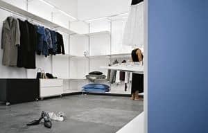 Dot Wardrobe, Aluminium-Ankleideraum, ausgestattet mit leichten Stäben