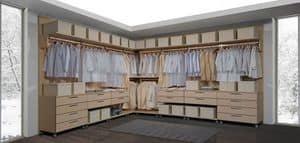 Kleiderschrank 23, Begehbarer Kleiderschrank, modular, mit Schubladen auf Rollen