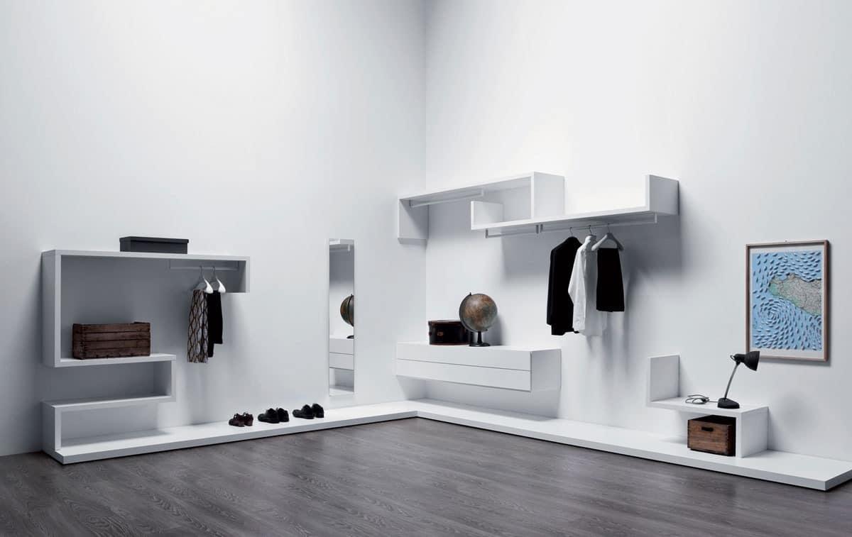 Funktional und modular begehbaren kleiderschrank, verschiedenen ...