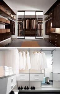 PARIES, Begehbarer Kleiderschrank mit Regalen, Schubladen, Lampen und Kleiderbügel