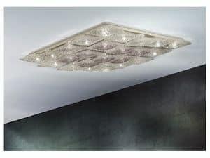 Alaska ceiling lamp, Rautenförmigen Deckenbeleuchtung in Metall und Glas