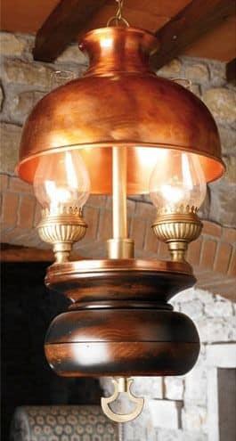 Art. L 70, Kronleuchter aus Holz und Kupfer, Stil country