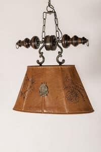 Art. L 80, Kronleuchter mit Lampenschirm im Alter von Leder bezogen