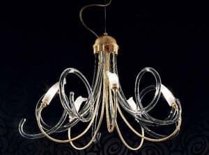 Chic Kronleuchter, Kronleuchter im Metallrahmen, Spiralen aus Murano-Glas