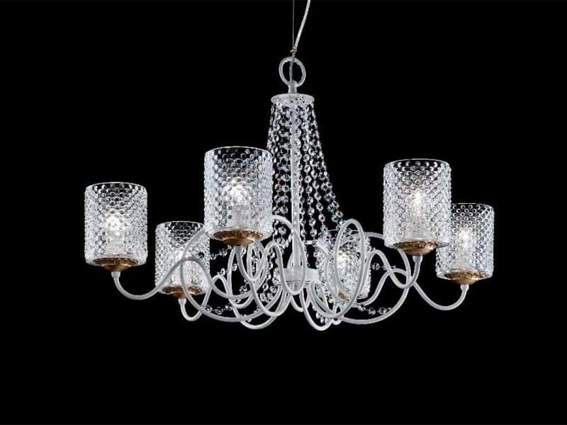 kronleuchter mit lampenschirmen in organza und sw anh nger. Black Bedroom Furniture Sets. Home Design Ideas
