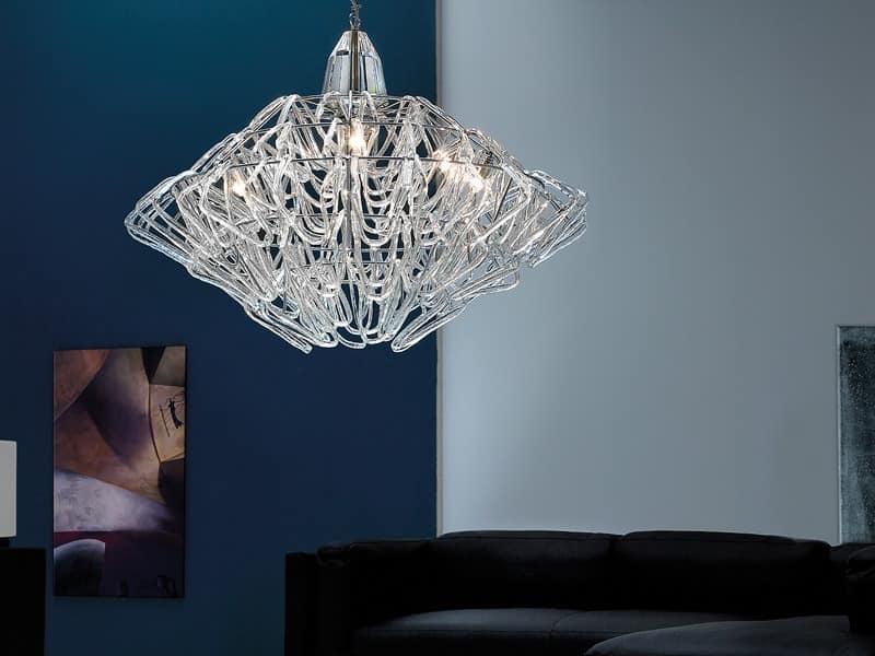 Diamante Kronleuchter, Hängeleuchte In Der Höhe Verstellbar, Aus Murano Glas