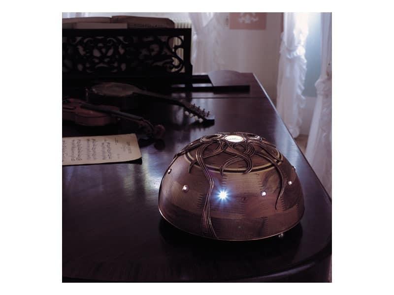 Giunone, Walnut Lampe mit zentralen LED-Licht