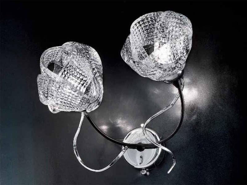 Lampadario vetro di murano a luci moderno tutto oro