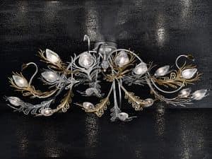 Musa ceiling lamp, Wandleuchte aus Eisen bemalt Gold und Chrom