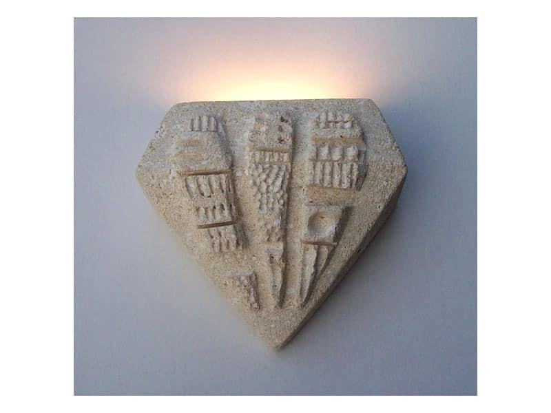 Pegaso, Wandlampe aus Stein, Halogenlicht aus