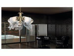 Poeme chandelier, Lüster mit 5 Leuchten mit Diffusoren aus Murano-Glas