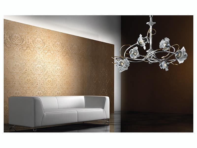 Rose chandelier, Modernen Kronleuchter mit handgeschmiedeten Eisenstruktur