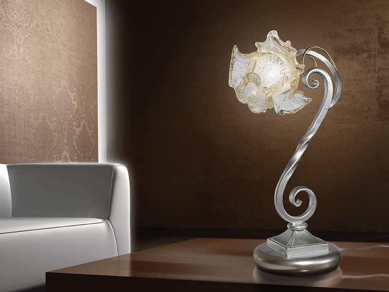Rose table lamp, Tischleuchte im naturalistischen Stil, für moderne Schreibtische