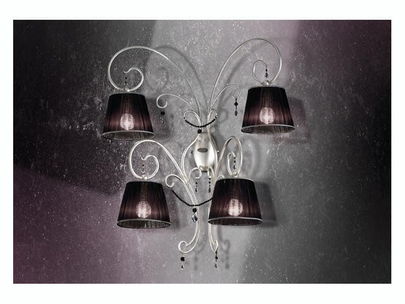 Venezia applique, Schmiedeeisen Wandleuchter mit 4 Lichtern und kostbaren Halsketten