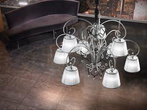 Venezia chandelier, Hand-Schmiedeeisen-Lüster, Halsketten aus Murano-Glas