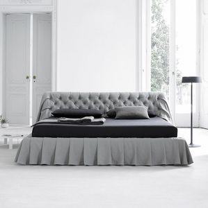 Bohémien Bett, Bett mit getuftetem Kopfteil, auch mit Aufbewahrungsbox erhältlich