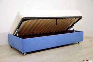 Einzelbett mit Container ohne Kopfteil, Sommier Bett abnehmbar und in jedem Detail anpassbar