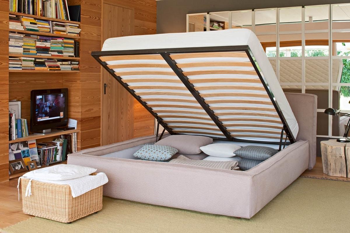 Bett mit Behälter mit gepolstertem Bettrahmen | IDFdesign