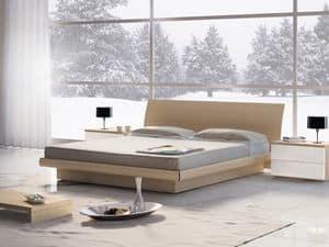 Bett Design 06, Doppelbett aus Holz mit Aufbewahrung