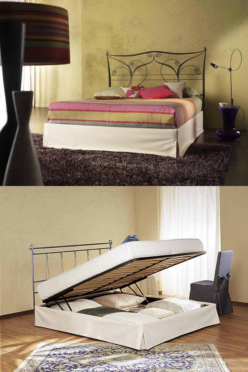 doppelbett mit metallkopfteil mit container idfdesign. Black Bedroom Furniture Sets. Home Design Ideas