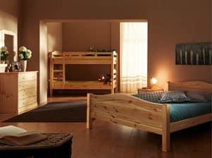 Bastia Bett, Tannenholzbett, rustikaler Stil
