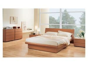 Bedroom 36, Schlafzimmer mit Aufbewahrungsbox Bett, in Holz Tanganyika Nuss, matchable mit Kommode und Nachttische