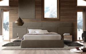 Boiserie comp.01, Holzkopfteil für Bett, modular und elegant