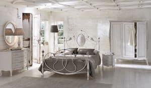 Caruso, Doppelbett aus Aluminium, für klassische Zimmer