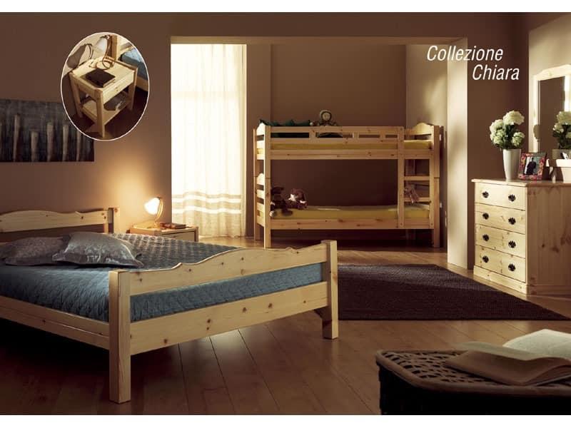 Collection Chiara, Rustikale Kiefernholz Bett, für Chalets
