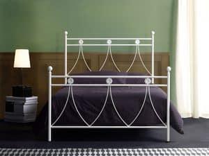 Crystal 120, Einzel-Metall-Bett für klassische Schlafzimmer