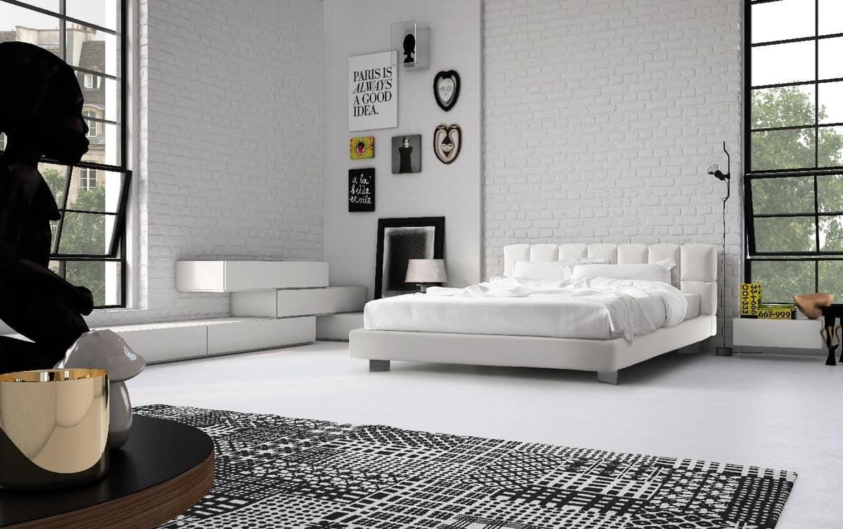 Cubic, Mit Gepolstertem Kopfteil Und Funktionelle, Für Die Moderne  Schlafzimmer Bett
