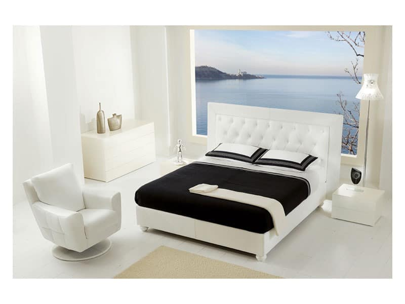 bett mit gepolstertem kopfteil f r classic zimmer idfdesign. Black Bedroom Furniture Sets. Home Design Ideas