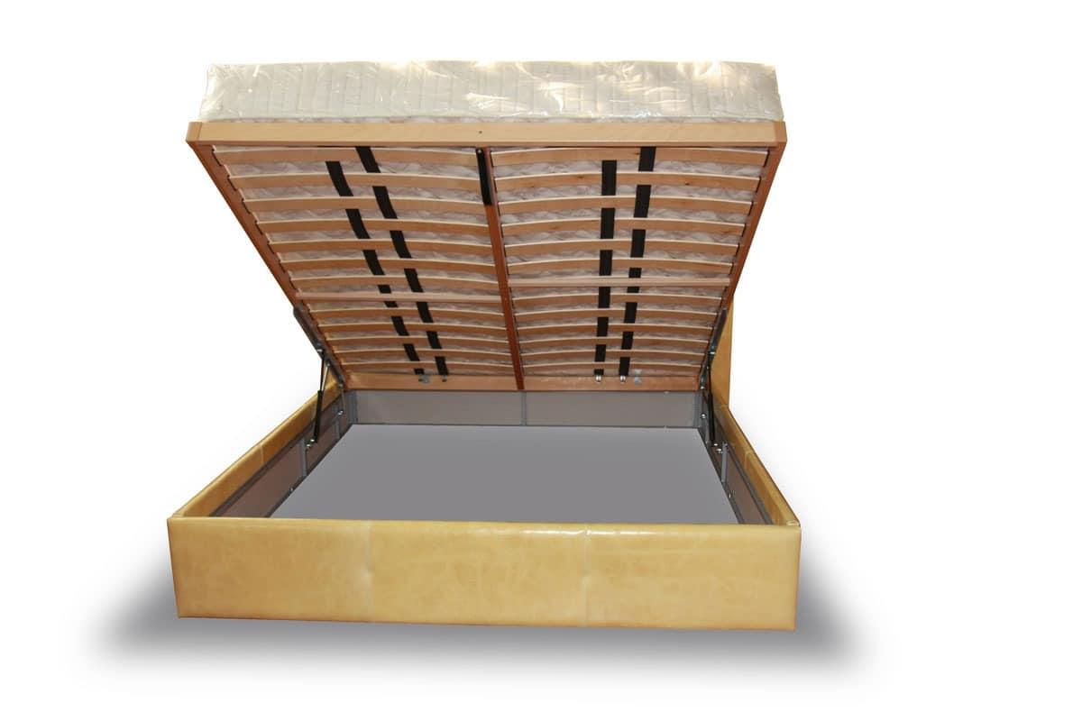 Kastenbett, Mit Box Und Lederbezug Bett