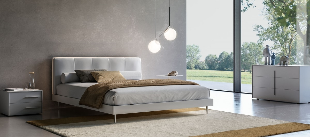 bett mit kopfteil aus kunstleder mit led licht idfdesign. Black Bedroom Furniture Sets. Home Design Ideas