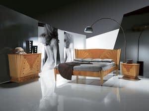 LE05 Fusion, Holzbett mit Einlage, erhältlich in Nussbaum Farbe
