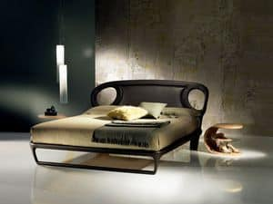 LE14B Iride, Doppelbett mit Leder bezogen, gewundenen Linien