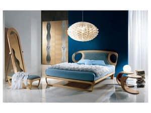LE15 Iride, Einlegearbeiten aus Holz Bett, Polsterkopfteil, für Schlafzimmer