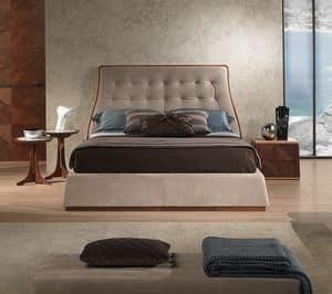LE23 Contemporary Bett, Bed in Canaletto Nussbaum, gepolstert, verschiedenen Ausführungen