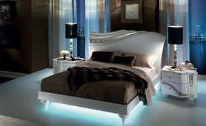 Mirò letto, Bett mit fließenden Formen, mit LED-Hintergrundbeleuchtung