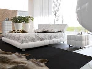 MONTREAL, Bett bedeckt in Leder, verstellbare Kopfende, für Schlafzimmer
