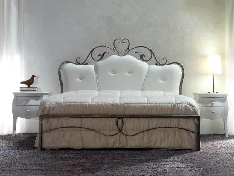 doppelbett aus schmiedeeisen mit tufted kopfteil idfdesign. Black Bedroom Furniture Sets. Home Design Ideas