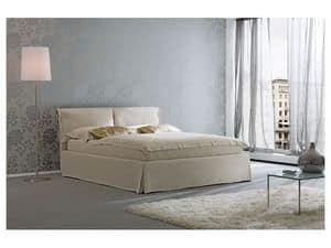 Nuvola, Moderne Bett, Holzkonstruktion, gepolsterte Polyurethan