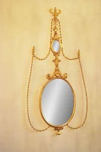 SPIEGEL ART. CR 0043, Ovalen Spiegel in geschnitztem Holz für Luxus-Hotels