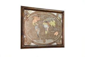 Art. AA463, Weltkarte gemacht mit gealterten Bronze und graviert gebürstet